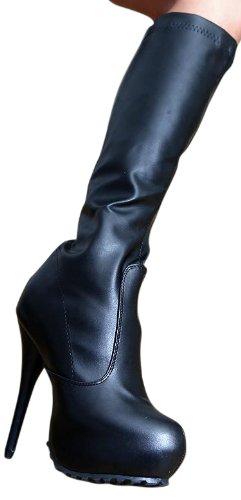 Erogance Kunstleder Plateau High Heels, Bottes pour Femme Noir