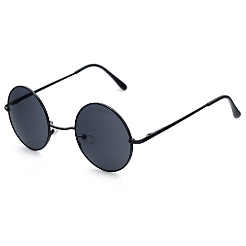 ille UV 400 Runde Polarisierte Getönte Retro Brille für Damen und Herren Vintage Unisex Fashion Brille Retro Sunglasses Steampunk Brille (All Black) (80er Jahre Mens Style)