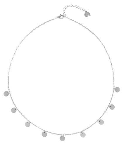 Happiness Boutique Damen Kette mit Mehreren Plättchen in Silberfarbe | Kette Runde Anhänger Geometrischer Schmuck
