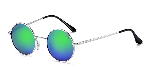 Miuno® Sonnenbrille mit runden Gläsern UV400 Herren Damen mit Etui Nickelbrille Federscharnier 8088 (Gestell: Silber/Glässer: grünverspiegelt)