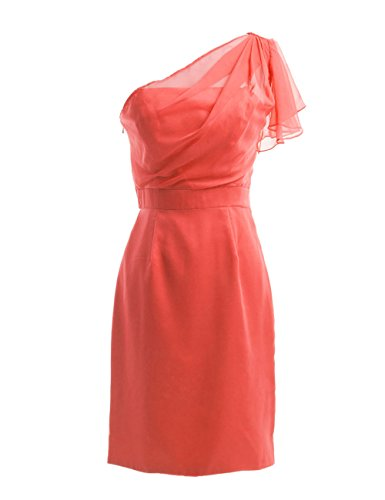 Dresstells, une épaule robe courte de demoiselle d'honneur en mousseline, robe de cocktail épaule asymétrique Pourpre