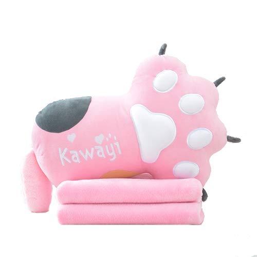 HYRL Cartoon Bear Paw Kissen Quilt Kissen DREI-Nutzen-Decke Nickerchen Lange Kissen Auto Büro Dual-Use Lendenkissen Kissen Klimaanlage War (Pink) -