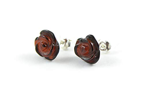 Echte baltische Bernstein Ohrringe, handgefertigte natürliche Baltischen Bernstein Perlen (Cherry) - Perlen-cherry