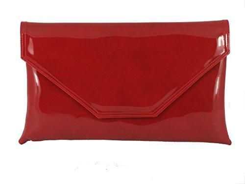 LONI stilvolle großen Umschlag Patent Clutch Bag/Schultertasche Hochzeit Partei Prom Tasche in kirschrot -