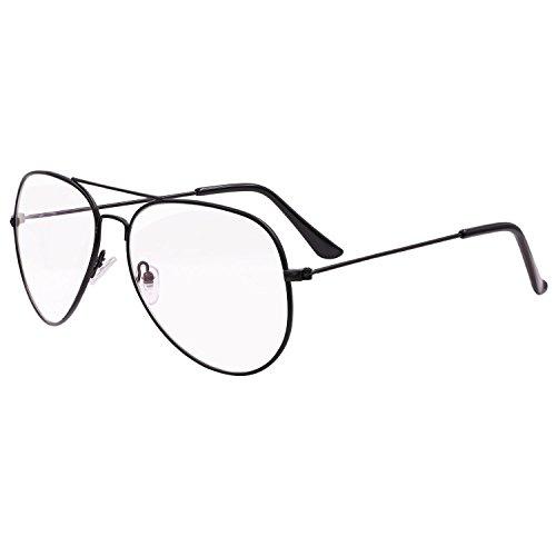 Hibote UV400 Aviator Brillen Clear Lens Geek / Nerd Retro Brille Rahmen Mode Eyewear für Männer Frauen - Anti-UV, (Aviator Brille)