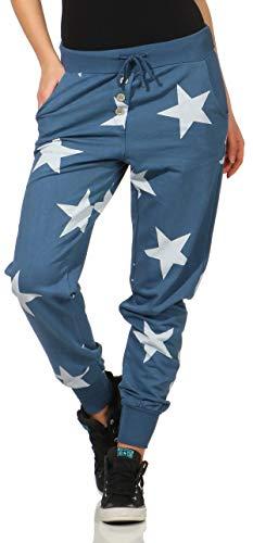 Malito stella boyfriend harem pantaloni sweatpants haremaladin sbuffo pantaloni pump baggy yoga 8025 donna taglia unica (color di jeans)