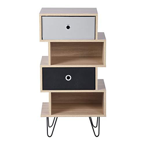 Aingoo Table d'appoint 4 tiroirs à côté de Table de Chevet Armoire côté Meubles de Rangement avec Pieds en Acier pour Chambre Salon chêne