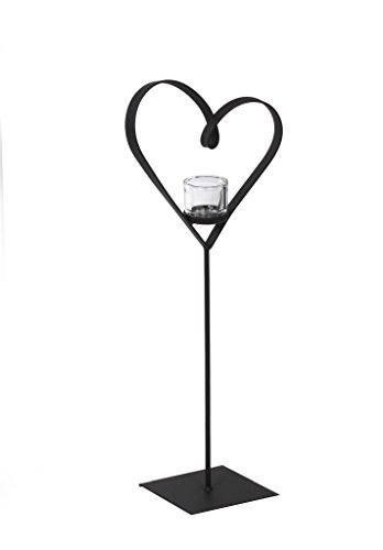WMG Windlicht Windlichthalter Teelichthalter DIANA, Herz mit Standfuß und Glas, Metall Schwarz H 60 cm B 20 cm (Metall Diana)