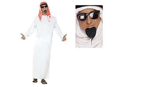 Hirsche Kostüm Für Erwachsene - Erwachsene Fake arabischen Scheich egyptiuan Kostüm Hirsch Fun Run mit kostenlos Bart Fancy Kleid Kit (Med nur)
