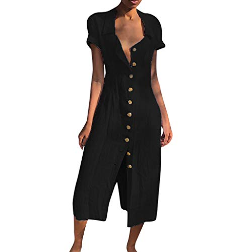 Sonojie Frauen beiläufige Feste beiläufige Knopf-Kleid-Hülse lose Partei-langes Kleid-Geschäfts-Ausstattung Einfache beiläufige Art und Weise