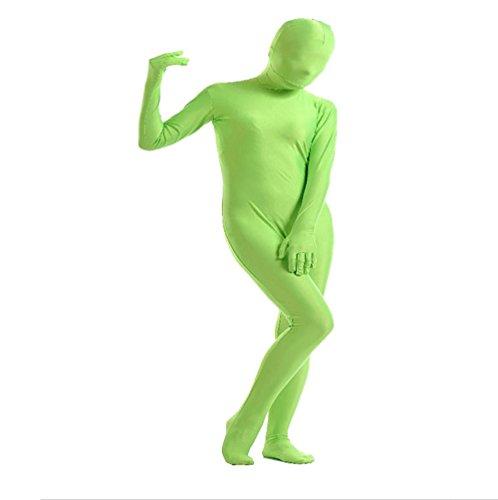 CHENGYANG Unisex Karnevals Kostüm Reine Farbe Catsuit Zentai Ganzkörper Bodysuit Cosplay Unitard Grün L (Unitard Grün Kostüm)