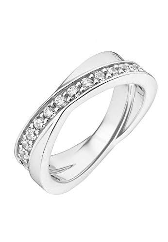 JETTE Silver Damen-Ring Wrapping II 925er Silber rhodiniert 31 Zirkonia silber, 55 (17.5)