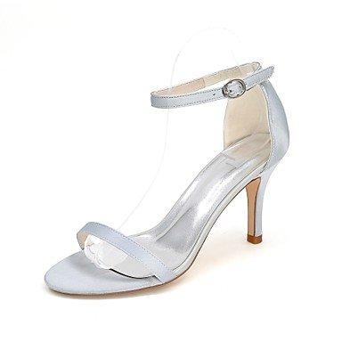 Wuyulunbi@ Scarpe donna raso Primavera Estate anello di convergenza scarpe matrimonio Stiletto Heel punta aperta la fibbia per la festa di nozze & sera un Champagne Blue Argento