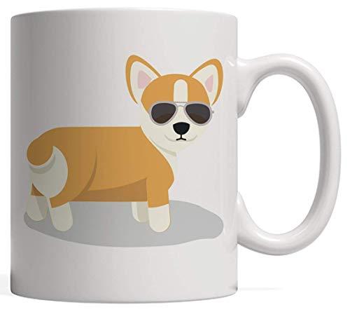 Corgi Dog with Sunglasses On Mug Novelty Mug Cool Summer Pet Cute Design Gift of Funny Puppy Pug with Black Shades On A Sunny Day!