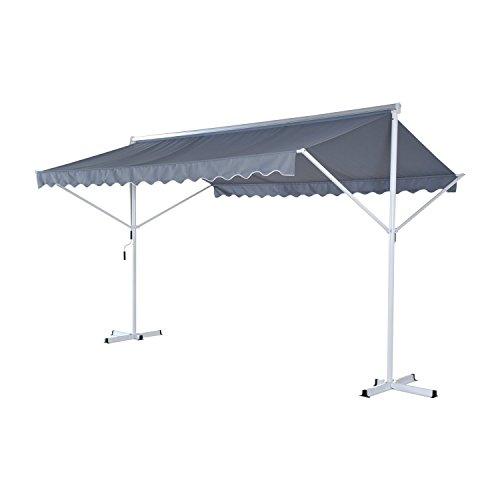Outsunny® Standmarkise Gartenmarkise Markise Sonnenschutz Terrasse mit Faltarm, Metall+Polyester, Grau, 4x3x2,5m Sonnenschutz Für Terrasse