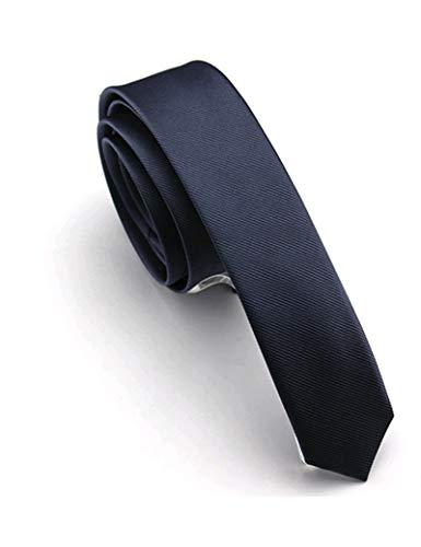 Slim-krawatte (JEMYGINS schmale Herren Krawatte einfarbig in verschiedenen Farben 4cm, Dunkelblau, Slim)