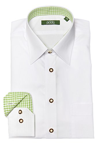 arido Trachtenhemd Herren langarm 2737 256 40 40 weiß grün 39