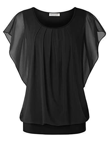 BAISHENGGT Damen Falten Kurzarm Tunika Batwing Rundkragen Bluse Reine Schwarz Medium