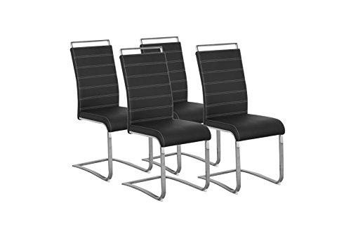 Cavadore Schwingerstuhl 4-er Set Sherry / Freischwinger ohne Armlehne in modernem Design / Lederimitat / Stuhlset schwarz / 57 x 43 x 101 cm (T x B x H)