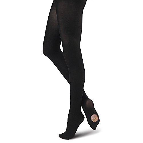 Collant da balletto convertibili calze da danza per ragazze donna 1 paio nero s