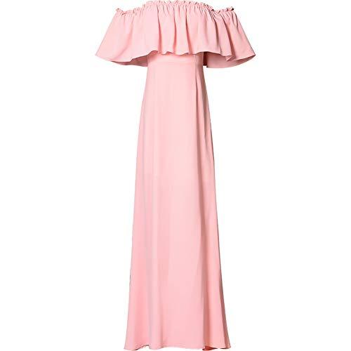 Frauen Schulterfrei gekräuselten Saum Empire-Taille hoch Split Cocktail eine Linie Elegante Brautjungfer Lange Kleider, rosa,S -