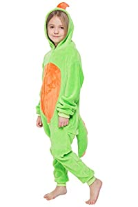 corimori-(10+ modelos) Byte el Dinosaurio Kigurumi Disfraz Animal Niños, color verde, Talla 110-130 cm (1851-002)