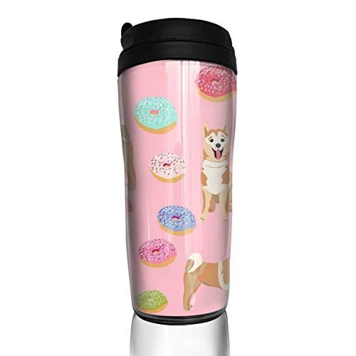 Akita Donut - Hund Donuts, Hund Nahrung Akita Hunde - Pink_25640 Kaffeetasse 340 ml auslaufsicherer Klappdeckel Wasserflasche Umweltschutz Material ABS