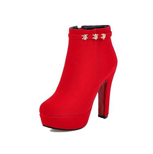 AllhqFashion Damen Eingelegt Hoher Absatz Reißverschluss Rund Zehe Stiefel mit Metalldekoration, Rot, 36