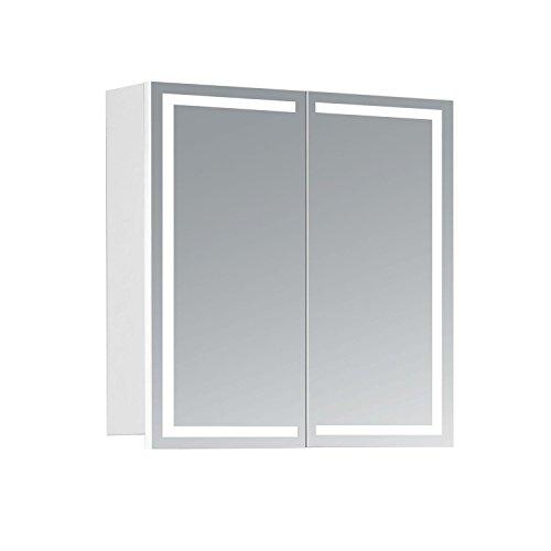 HAPA Design Spiegelschrank Milano weiß mit LED Beleuchtung in Lichtfarbe 4000K, VDE Steckdose, Softclose Funktion und Verstellbaren Glas Ablagen. Komplett