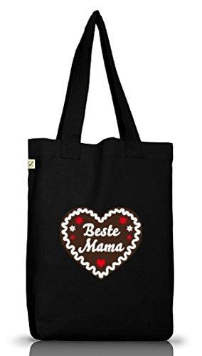Shirtstreet24, Muttertag - Lebkuchenherz Beste Mama, Jutebeutel Stoff Tasche Earth Positive Black