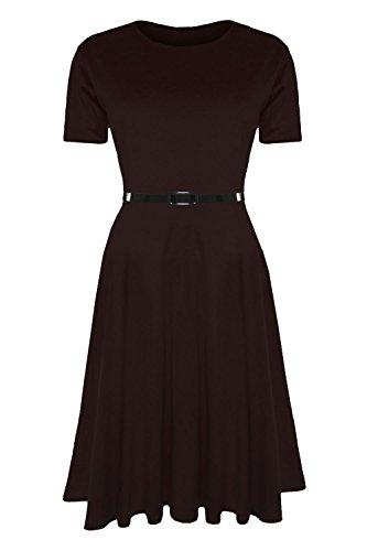 Damen Skater Kleid EInfarbig mit Gürtel Angeschnittene Ärmel Mittellang Swing Midi Kleid Übergrößen