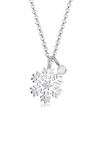 Elli Damen Halskette Schneeflocke Mondstein Swarovski Kristalle Silber 0107552617_45 - 45cm Länge