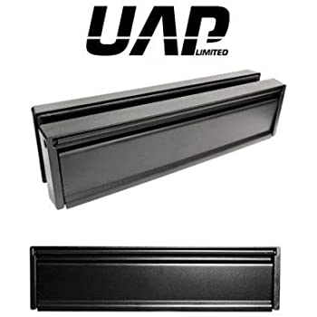 with a Silver Anodised Flap and Black Frame for 40-80mm thick doors 12 Slimline Letterplate