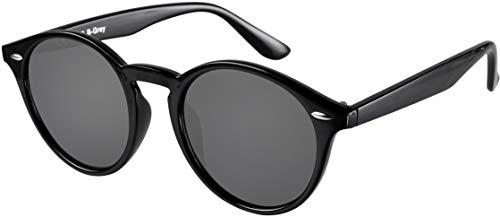 La Optica UV 400 Damen Herren Retro Runde Sonnenbrille Round - Einzelpack Glänzend Schwarz (Gläser: Grau)