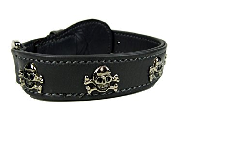 Lederhalsband Head and Skull aus butterweichem Lammnappa - In vielen Farben und Größen - Dogs Stars Mop Heads 60