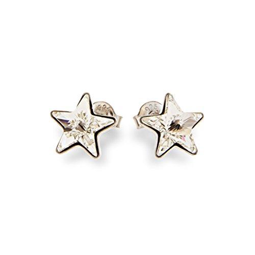 Ana Morales Boucles d'oreilles pour femme en argent sterling 925 avec cristaux Swarovski Weiss Transparent