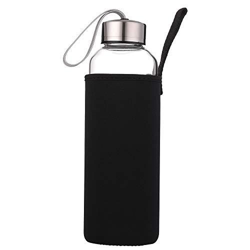 Sunkey sport bottiglia aqua in vetro borosilicato 550ml 750ml 1 litro portatile bpa free, borraccia vetro sportiva per palestra escursione ufficio casa (750ml)