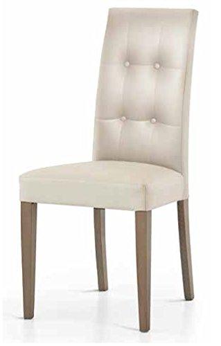 Set 2 sedie in ecopelle tortora con schienale trapuntato juliet