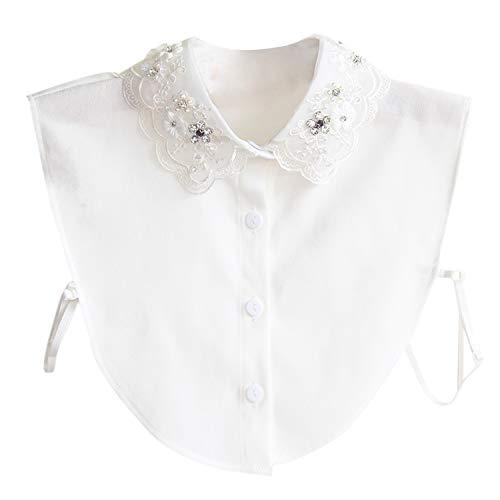 Jolisson Damen Abnehmbare Gefälschte Halb Revers Perle Vintage Schwarz Weiß Strass Hemdbluse Kragen mit Verstellbaren Bändern -