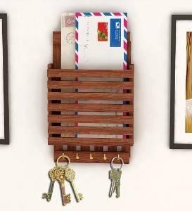 Regalo unico del giorno delle madri.lettera di legno cum portachiavi, striscia di design con 5 gancio chiave,
