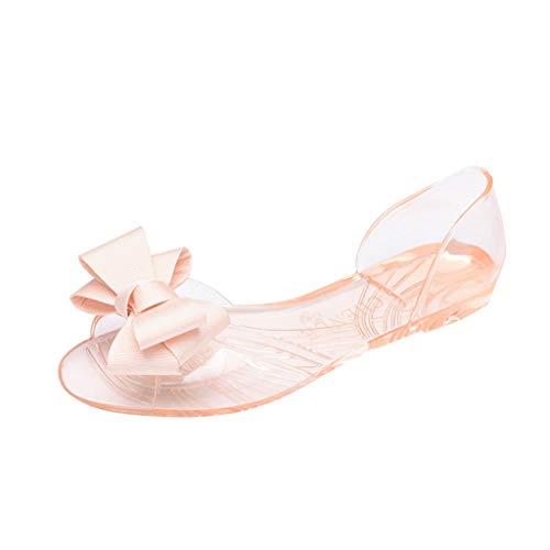 MakefortuneFrauen Wedges Sandalen Open Peep Toe Bohemia Kleid Schuhe Bögen Dekor Ausschnitt Flache Sandale D'orsay Komfort Wanderschuh Miu Miu-open-toe-heels