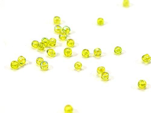 ca. 800Rocailles 2mm leicht unregelmäßig, Farben Grün Lime Klare irisierend,... Mini Perlen, kleine Perlen, Lieferungen aus Schmuck, Perlen 2mm, Glasperlen, Steingärten 2mm (800) [ref-t1d _ 1997]