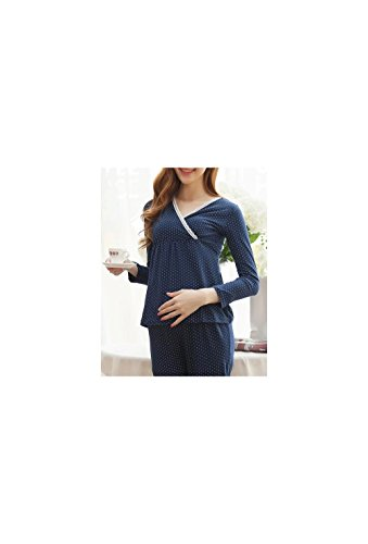 Mums 'n' Babies Navy Blue Polka Dotted Maternity Nursing Pajama Set