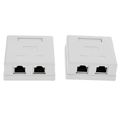 H HILABEE 2Pcs 2 Port Cat6 RJ45 Netzwerk/Enternet Kabel Wall Surface Mount Compact Box Surface Mount Wall Jack