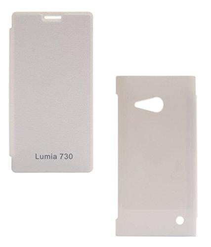 DMG Premium Flip Cover Case for Nokia Lumia 730 (White)