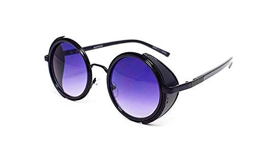 Ultra Schwarz Rahmen Lila Linsen Steampunk Sonnenbrille Retro Damen Herren Metall Rund Rave Gothic Vintage mit Scheuklappen UV400 Unisex