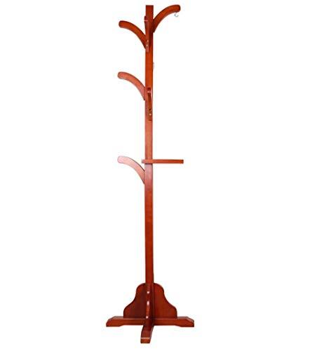 Garderobenständer Garderoben-Boden-Gestell-Boden-festes Holz-einfaches modernes Aufhänger-Beutel-Gestell für Wohnzimmer-Schlafzimmer-Studie (Color : Brown)