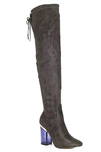 Grau Damen Megan Durchsichtige Overknee-stiefel Grau