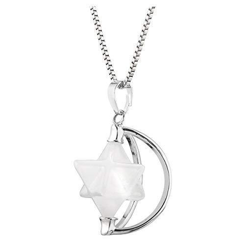 JSDDE Drehbar Merkaba Stern Anhänger Chakra Edelstein Kristall Healing Pendant Halbmond Design Halskette für Damen Mädchen Bergkristall (Kristall Quarz Chakra Anhänger)