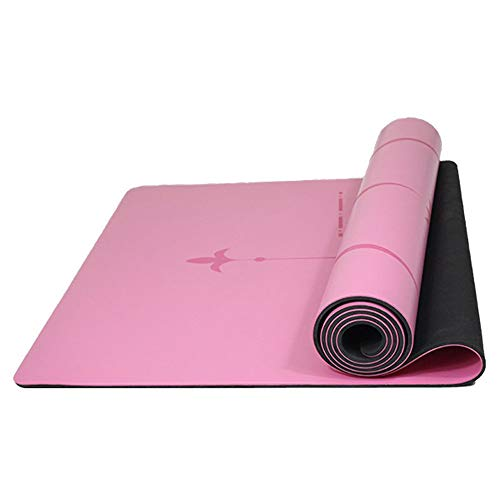 Estera De Yoga De Caucho Natural De PU De 4,5 Mm De Grosor: Sistema De Alineación del Cuerpo para Todo Tipo De Yoga Y Pilates, Esterilla De Hogar De Color Rosa 183X68 Cm